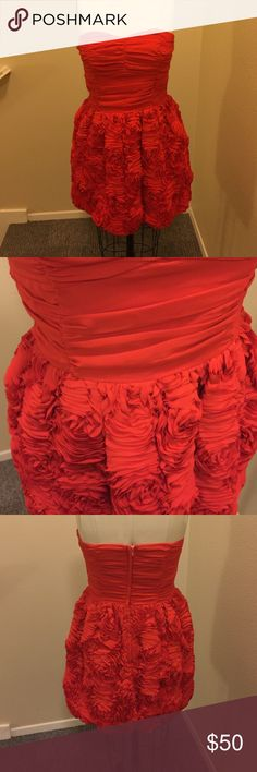 Rose ruffles strapless dress in red Red as a rose! Super precious strapless dress with rose ruffle bottom half. Easy to wear and beautiful. From H&Ms garden collection 24 inches from top of strapless edge to end of skirt. H&M Dresses Mini