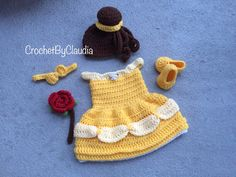Crochet Belle Inspired Dress and PhotoProp Set/ Newborn Belle Dress/ Made to Order by CrochetByClaudia on Etsy https://www.etsy.com/listing/232437476/crochet-belle-inspired-dress-and