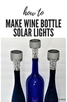 How To Make DIY Wine Bottle Tiki Torches And Solar Lights. Make DIY Wine Bottle Tiki Torches and Solar Lights using leftover wine bottles and dollar store solar lights! Bottle Tiki Torch Diy, Liquor Bottle Crafts, Wine Bottle Art, Lighted Wine Bottles, Diy Bottle, Wine Bottle Garden, Bottle Lamps, Wine Bottle With Lights, Crafts With Wine Bottles