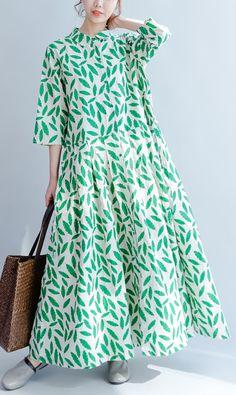 2017 green prints summer dress linen casual plus size sundress bracelet sleeved maxi dress