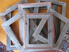 We make a variety of standard sized and custom frames. Most of our work is done in old grey barn siding but we also offer frames in washed colors as w… Barn Wood Crafts, Barn Wood Projects, Old Barn Wood, Reclaimed Wood Projects, Small Wood Projects, Rustic Crafts, Reclaimed Barn Wood, Diy Projects, Cheap Picture Frames