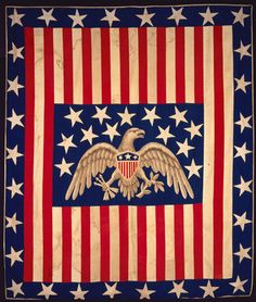 Margaret English Wood Dodge made the cotton pieced and appliquéd bedcover when she was well into her 80s. The eagle was painted by her son, John Wood Dodge of Tennessee. The bedcover is thought to have been made for the Brooklyn and Long Island sanitary fair as a raffle prize.