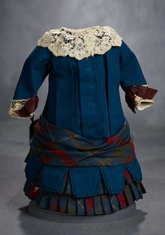 """""""What Finespun Threads"""" - Antique Doll Costumes, 1840-1925 - March 12, 2017: 192 Teal Blue Serge Drop-Waist Dress with Plaid Accents"""