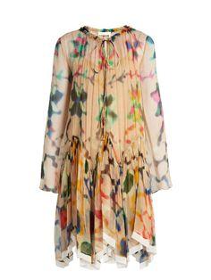 CHLOÉ Abstract-Print Silk-Georgette Dress. #chloé #cloth #dress