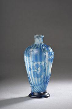 Émile Gallé, blue cameo glass vase
