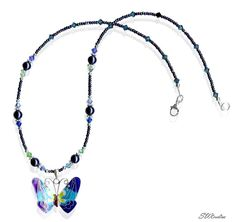 SWCreations Beaded Jewelry Designs - Amari Crystal Butterfly Blue Pearl Necklace, $74.80 (http://www.swcreations.net/n87-amari-crystal-butterfly-blue-pearl-necklace-beaded-jewelry/necklaces.html)