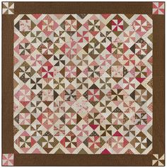 Windmills in pink and brown from Red Crinoline Quilts Antique Quilts, Vintage Quilts, Pink Quilts, Windmills, Pink Brown, Pinwheels, Applique, Kit, Sewing