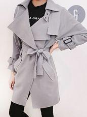 Fashion Long Sleeve Turn-Down Collar Long Trench Coat