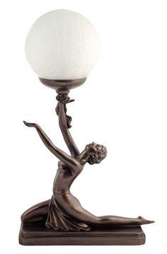 Art Deco Bronze Lighting Nora Kneeling Lamp Figure