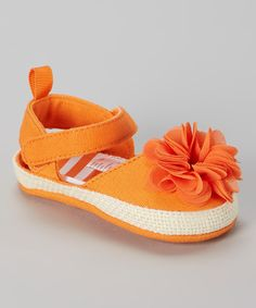 Love this Stepping Stones Orange Flower Espadrille by Stepping Stones on #zulily! #zulilyfinds