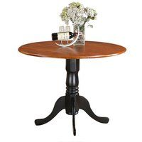 This East West Furniture Dublin Pedestal Round Dining Table with Drop Leaves is perfect for smaller sized kitchens and dining rooms. Crafted of solid. Dinette Sets, Dining Table, Colonial Dining Room, East West Furniture, Country Dining Tables, Solid Wood Dining Table, Kitchen Table Settings, Small Kitchen Tables, Dining Room Bar