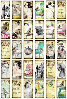 ViNTaGe WHiMSY 1 x 2 inch WHiMSiCaL digital collage sheet altered art domino clear tile rectangle glass pendants download sh12a