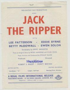Jack The Ripper 1959 Film Rare promo flyer Baker Regal Serial Killer Whitechapel