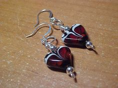 Maroon and white heart shape lampwork bead by LEFIALYNNCREATIONS, $16.00