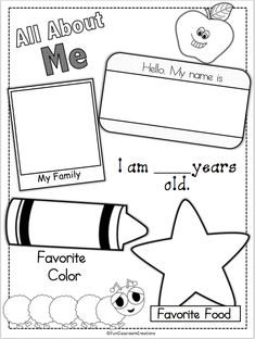 About Me Page Erin, does this look familiar to you? I feel like we filled out this exact one when we were little!Erin, does this look familiar to you? I feel like we filled out this exact one when we were little! All About Me Preschool Theme, Preschool Themes, Preschool Lessons, Preschool Classroom, Preschool Learning, Classroom Activities, In Kindergarten, All About Me Activities For Preschoolers, All About Me Crafts
