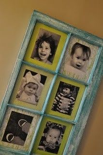 I love window pane picture frames : ) diy