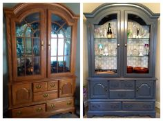 Before and after of large china  cabinet stripped and stained with new hardware and back wall