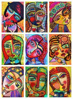0 Folk Art Ladies 0 Folk Art Ladies Greeting Card by Sandra Silberzweig Abstract Portrait, Portrait Art, Abstract Art, Abstract Paintings, Folk Art Paintings, Painting Portraits, Painting Tips, Painting Art, Watercolor Painting