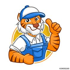 Vector: Plumber Tiger mascot character design