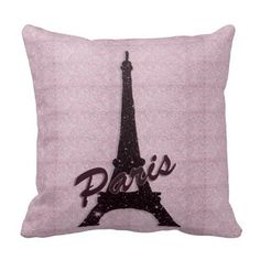 Girly Pink & Black Paris Eiffel Tower Pillow