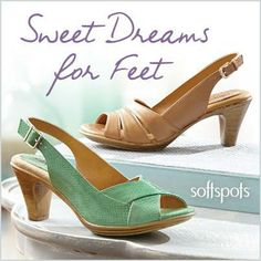 Who says comfortable can't be cute?   Try these heels from Softspots that have PillowTop™ cushioning memory foam. Shop here   at #Footsmart