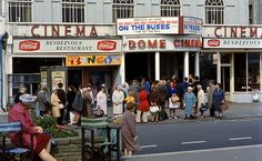 s (remember them?) queuing for the bus to invade Brighton. Note the title of the film at the Dome cinema. Worthing, Old Street, Local History, Old Photos, England, Street View, Photoshoot Vintage, Brighton, Nostalgia