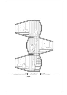 This unusuallooking little project by Slovenia's OFIS Architects looks like it could appeal to those looking for a flexible microdwelling Installed in the grounds of Ljubljana Castle, the firm envisions it serving as a shelter, vacation home, housin Architecture Collage, Space Architecture, Architecture Diagrams, Architecture Portfolio, School Architecture, Architectural Section, Architectural Presentation, Architectural Models, Architectural Drawings