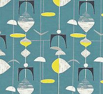 Mobiles - funky 50's retro atomic abstract blue yellow grey cotton fabric