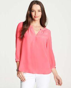 ac428c221262e Split Neck Silk Blouse - Flaunting wear-now hues in luxurious silk