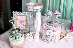 Sweets table from Littlest Mermaid 1st Birthday Party at Kara's Party Ideas. See more at karaspartyideas.com! #mermaidparty #1stbirthday #partyfood
