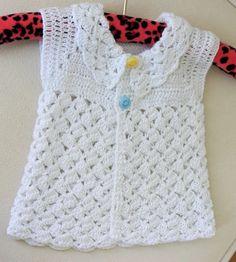 Hand Crocheted Baby Girls White Vest / 0  9 by BYBERRDESIGNS, $22.75
