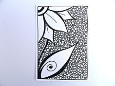 ACEO Original Flower Drawing, Zentangle Inspired Art, Black and White Zendoodle. $20.00, via Etsy.