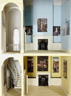 A fine English Georgian dolls house (jt-nice sweeping staircase - go to Bonhams for more pics of interior and exterior)
