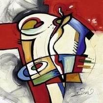 #Déco #Design #Tableaux #Peintures A découvrir une nouvelle toile design dans les tons rouges et bleus