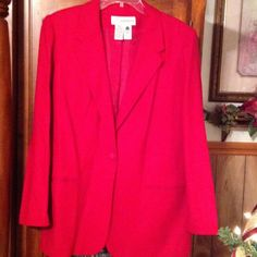 ✨ Sale✨RED BLAZER Red Woolmark blend blazer by Sag Harbor fully lined and has one button closure can dress up or down looks great with jeans and a tee or just in time for the Holiday. Sag Harbor Jackets & Coats Blazers