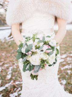 Bridal bouquet // winter wedding // fur cloak // Amie Schroeder Photography & Cinema