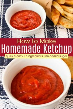 How to Make Ketchup - just stir together 7 simple pantry ingredients for the kid-favorite dip that gets them to eat just about anything. And with no added sugar, this healthy recipe practically counts as a serving of veggies. Healthy Ketchup Recipe, Keto Ketchup, Homemade Ketchup, Homemade Sauce, Summer Recipes, New Recipes, Vegan Recipes, Favorite Recipes, Amazing Recipes