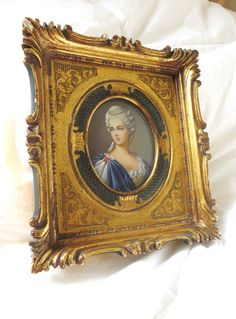 1800s french #handpainted portrait beautiful french young woman #antiqueportrait 18k gold gilded plaster #woodframe 6 in X 7in frame by 2shoppingdiva on Etsy