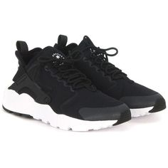 Air Huarache Run Ultra Black Fabric Sneaker ($129) ❤ liked on Polyvore featuring shoes, sneakers, black trainers, nike shoes, black shoes, black rubber shoes and nike sneakers