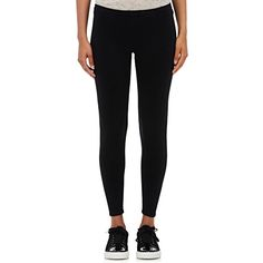 ATM Anthony Thomas Melillo Women's Compact Knit Silk-Blend Leggings ($295) ❤ liked on Polyvore featuring pants, leggings, black, pull on knit pants, knit leggings, legging pants, pull on pants and knit pants