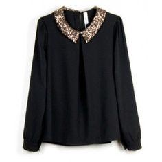 Znalezione obrazy dla zapytania black chiffon blouse with collar