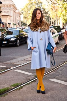 baby blue coat with leopard details and mustard tights - combination I would never think of but it works!