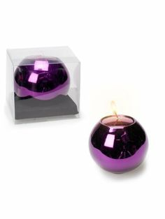 """Set 2 Pieces 2"""" Glass Ball Metallic Purple Tea Light Tealight Holder with Candles by American Chateau. $8.99. You get 2 Pieces. Size: 2.5"""" H x 2.9"""" L x 2.9"""" W. Material: GLASS. Color: PURPLE. Color: PURPLE; Material: GLASS; Size: 2 1/2"""" H x 2 9/10"""" L x 2 9/10"""" W; You get 2 Pieces"""