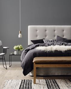 15 Amazing Winter Bedroom Decorating Ideas For Your Comfortable Sleep 13 Grey Colour Scheme Bedroom, Gray Bedroom, Grey Bedding, Home Bedroom, Bedroom Furniture, Bedroom Decor, Bedroom Ideas, Luxury Bedding, Bedding Sets