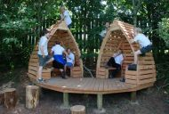 cool fort- just make the interior a bit bigger and it can do double duty as outdoor seating for them in their teens...