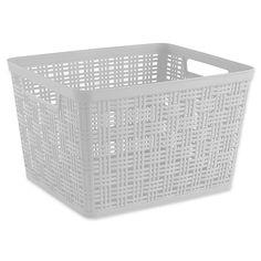 Large Plastic Wicker Storage Basket In White Large Storage Baskets, Small Storage, Storage Ideas, Plastic Bins, Plastic Laundry Basket, Plastic Storage Cubes, Cube Storage, Storage Room, Laundry Room