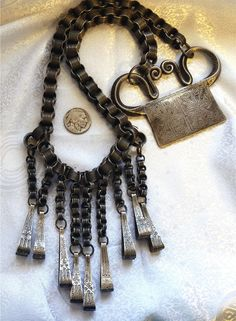 Antique Hmong Hill Tribe Silver 1800s Spirit Lock Grain Opium Weights Necklace #Unbranded