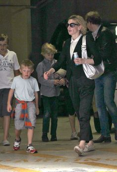 Cate with her boys Dashiell,13, Roman,10, and Ignatius, 7 & Husband Andrew Upton