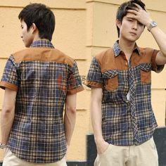 2013新款休闲短袖格子男衬衫(蓝格)-L码  USD $4.99