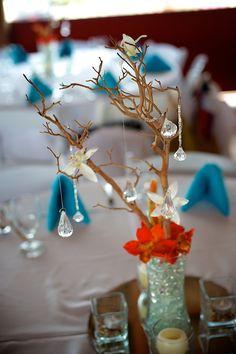 # rustic # orange beach centerpiece Beach Wedding Centerpieces, Orange Beach, Rustic, Table Decorations, Home Decor, Country Primitive, Decoration Home, Room Decor, Retro